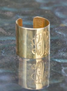 Sterling silver cuff gold and rose cut