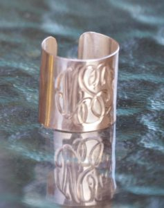 Sterling silver cuff rose