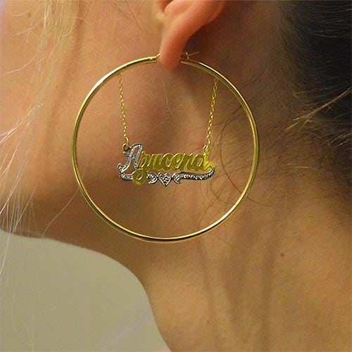 Name Hoop Earrings Gold Fill Earring