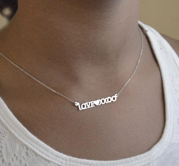 Name necklace white gold 14kt.