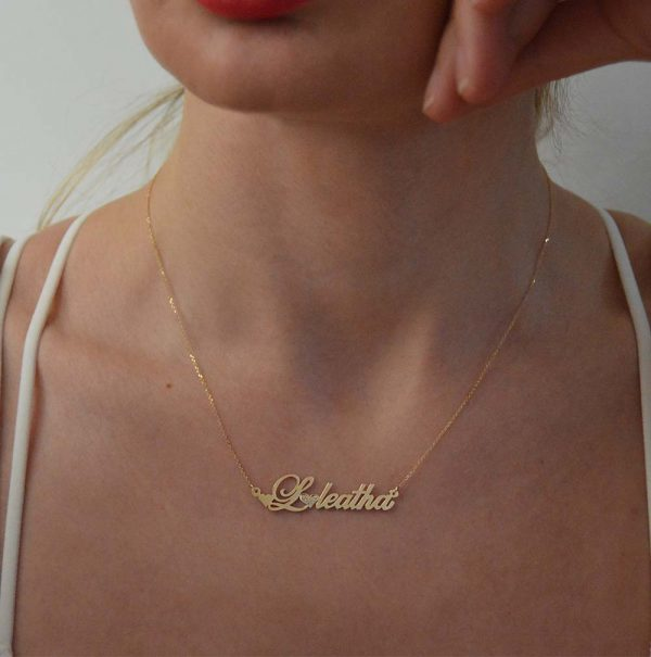 Name necklace with diamonds.