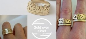 custom name ring gold over silver small