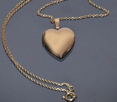 Heart shaped gold chain