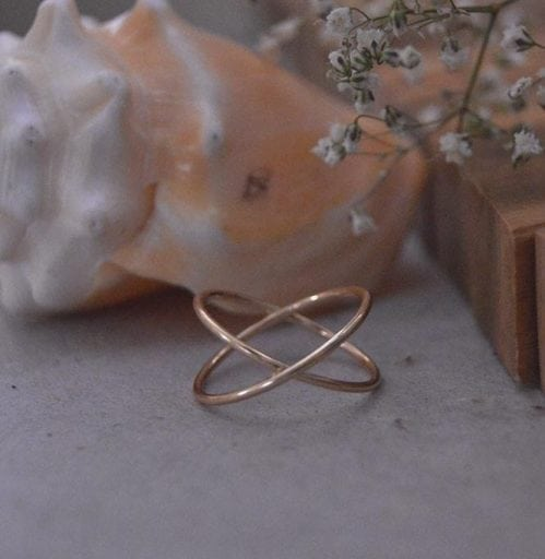 Criss cross 10kt gold