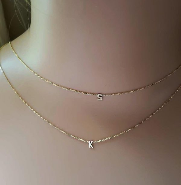 Double initial necklace.