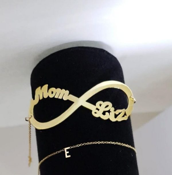 Mother daughter name bracelet.