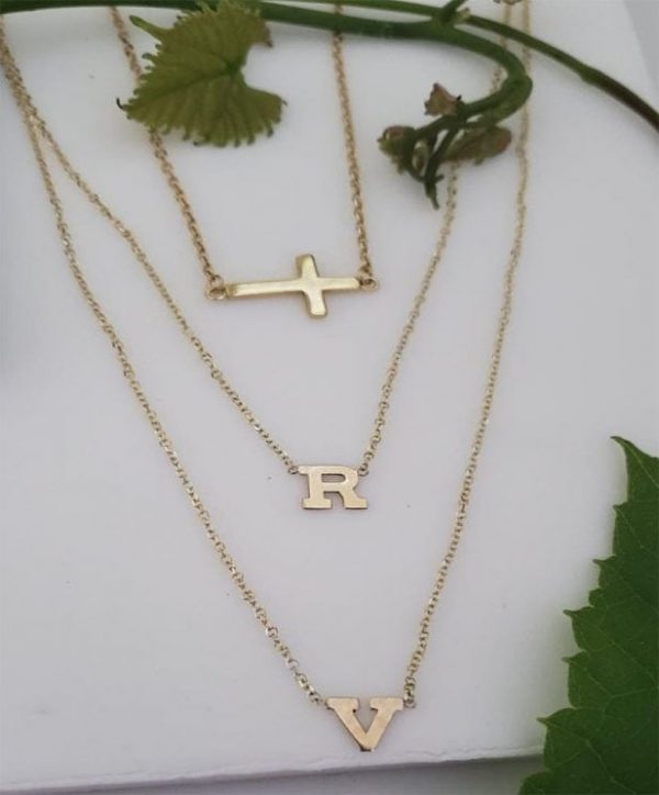 Cross initial choker solid yellow.