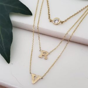Initial necklace14kt